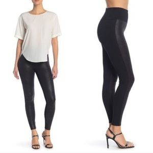 SPANX | Black Faux Leather Panel Two Tone Leggings